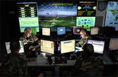 The DoD Cyber-fusion-center is depicted in this controversial public-relations image