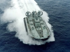 A Ukranian built Zubr Class Hovercraft demonstrates it high speed capability during sea trials in the Black Sea near the port of Feodosiya. The Zubr heavy lift landing craft air cushion (LCAC) is expected to become the basis for an significant new number of hulls to be built by China in a military cooperation program between the states.