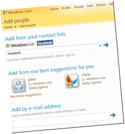 import facebook contacts to windows live